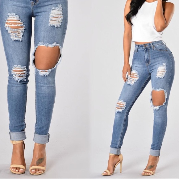 Distressed Fashion Nova Jeans